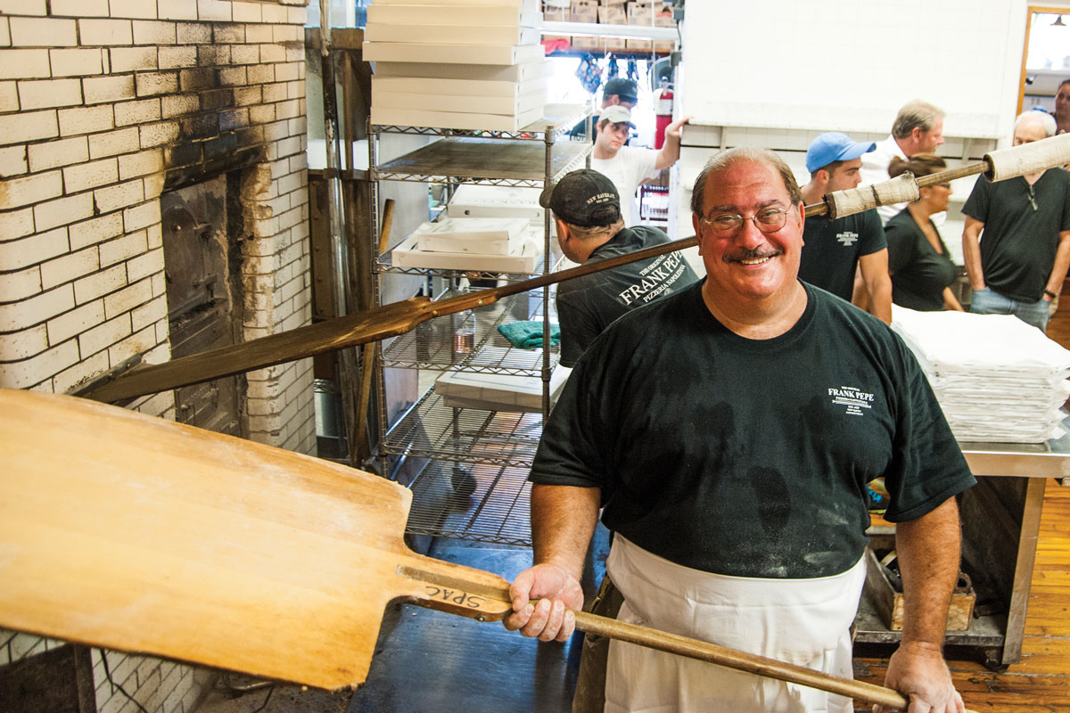 Gary Bimonte, Frank Pepe's grandson, carries on the family tradition at Frank Pepe Pizzeria Napoletana.