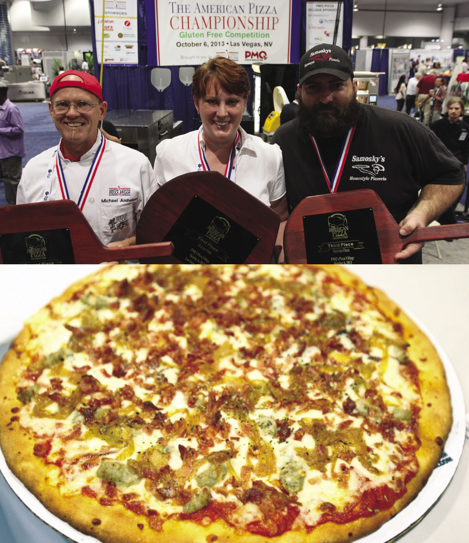 Zook, pictured above with 2nd-place winner Michael Amheiser (left) and 3rd-place winner Jason Samosky (right), took first prize at the 2013 American Pizza Championship with her 3 Meat Pizza featuring pepperoni, sausage and bacon with a provolone/mozzarella blend.
