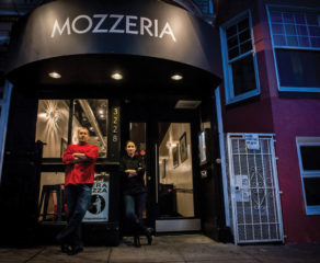 this photo depicts the deaf couple who own Mozzeria