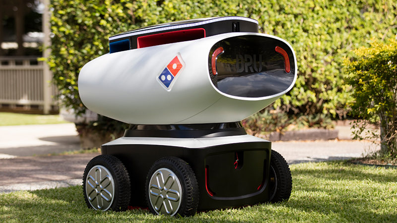 this photo illustrates the pizza-delivery robots created by Domino's