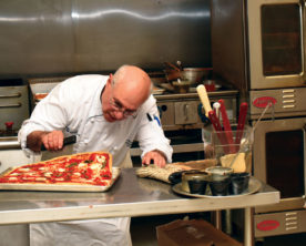 This picture shows Peter Reinhart's expertise in pizza