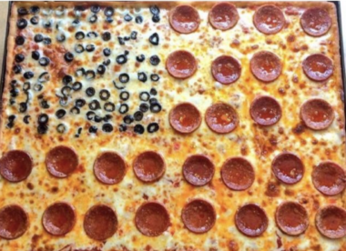 pizza in the shape of the american flag