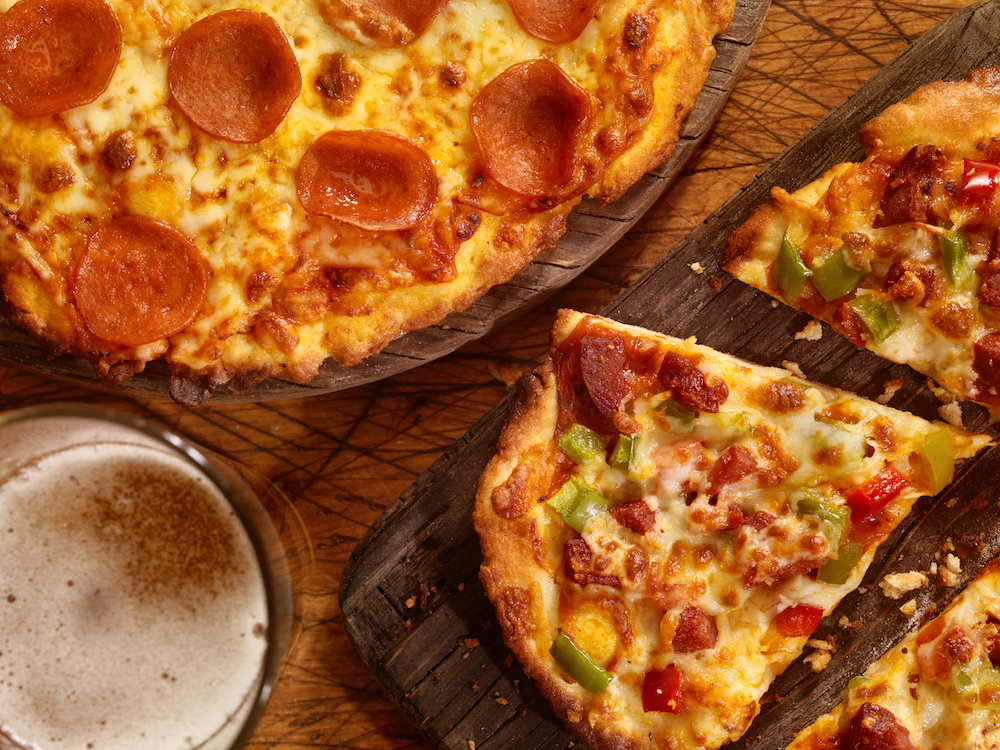 this photo shows an appealing set of gluten-free pizzas
