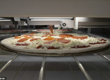 this picture shows the pizza-making robot in action in a kitchen
