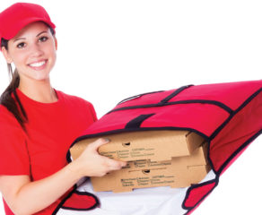 this photo illustrates the concept of using hot bags for pizza delivery