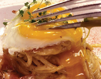 this photo depicts a recipe for spaghetti carbonara with homemade pasta