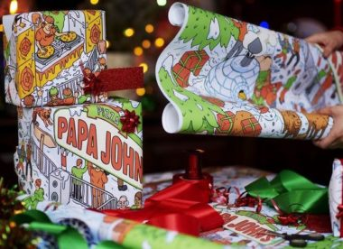 this photo shows pizza-scented wrapping paper from Papa John's