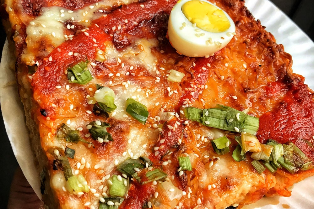 this Japanese-inspired dish is packed with weird pizza ingredients