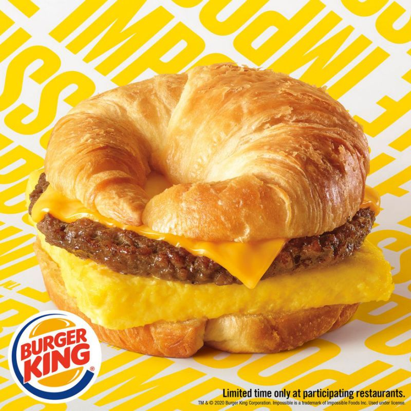 this photo shows a Burger King croissant made with plant-based sausage