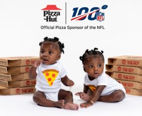 this photo shows a promo for a Super Bowl twins contest