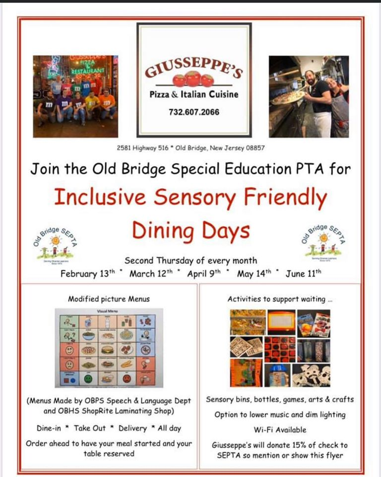 this is the flyer used to promote sensory-friendly dining days at Giusseppe's Pizza and Fine Italian Cuisine