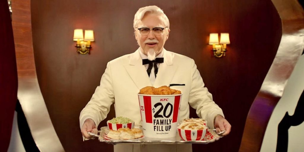 this photo shows the KFC mascot who was resurrected by Kevin Hochman