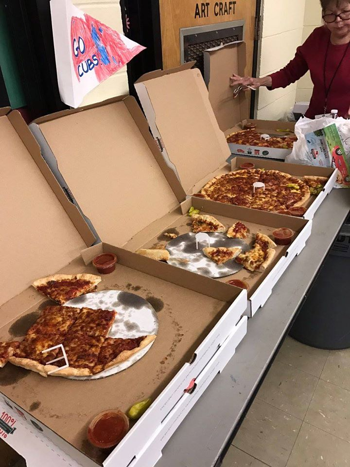 this photo shows pizzas delivered by Pizza to the Polls for the Nevada caucuses