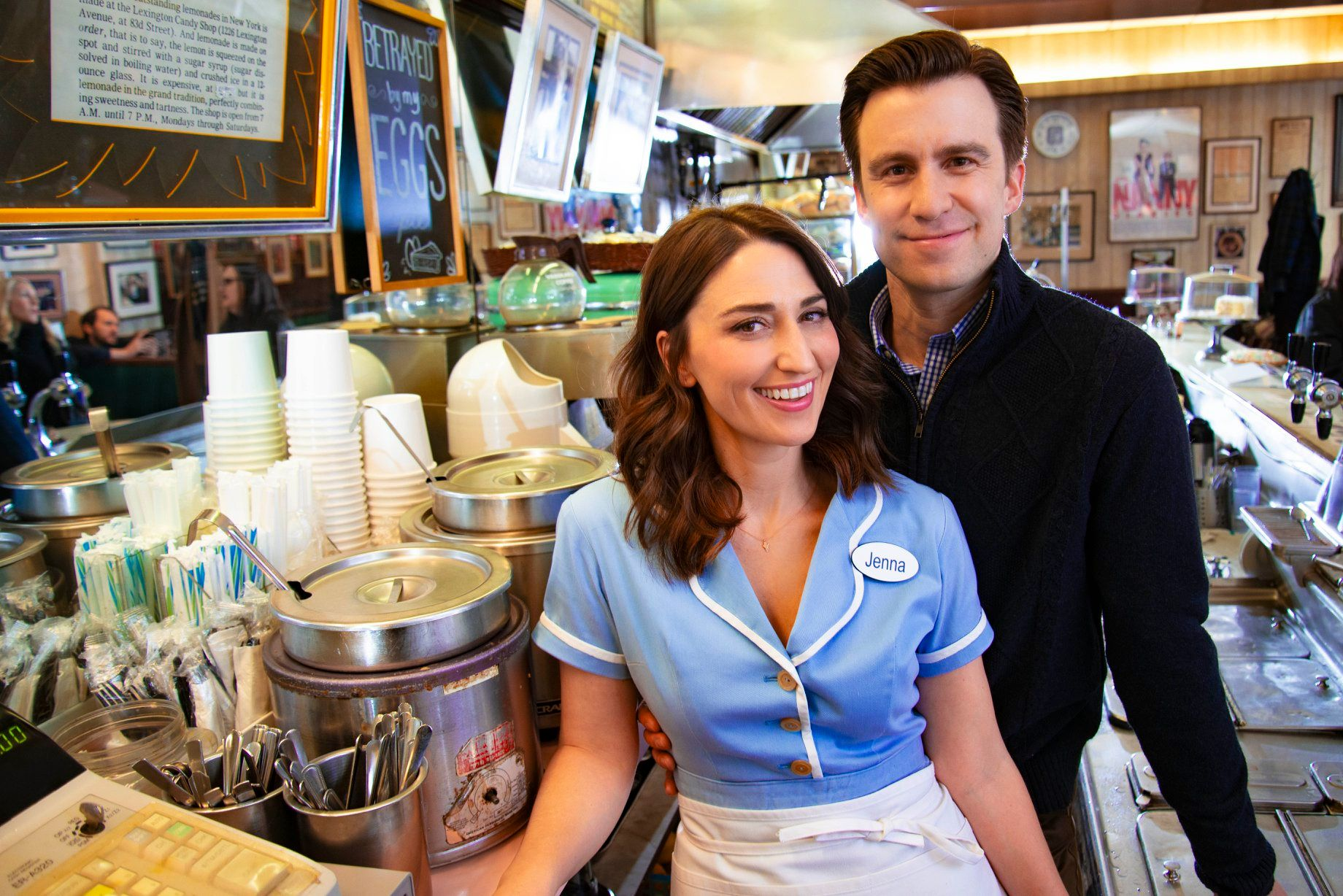 this photo shows Sara Bareilles and Gavin Creel of Waitress: The Musical