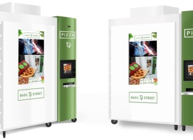 this is a photo of one of the pizza vending machines offered by Basil Street