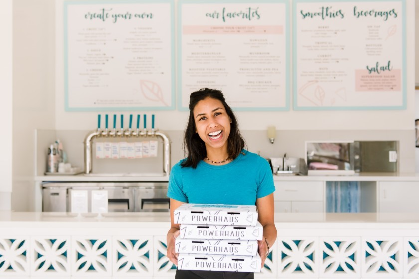 this is a photo of Anisha Blodgett, owner of Powerhaus Wholesome Pizza & Eats in San Diego