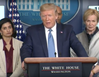 screen shot of Donald Trump in press conference urging Americans to avoid eating at restaurants