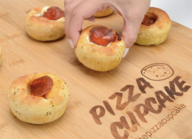 this is a photo of Pizza Cupcake, a pizza in the shape of a cupcake
