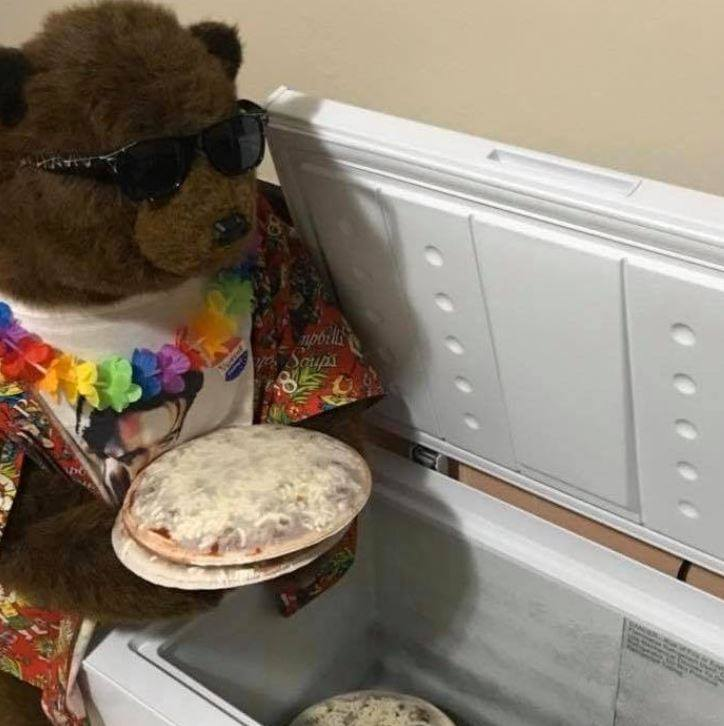 photo of the mascot of Party Bear Pizza and Tiny Chef, which offers a take-and-bake frozen pizza option during the coronavirus pandemic