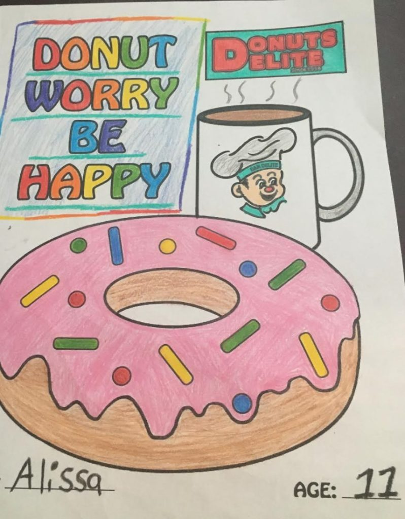 this photo shows a coloring contest for children, a restaurant marketing idea for the pandemic