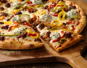 photo of a Sicilian sausage and peppers pizza for a recipe from Grande Cheese