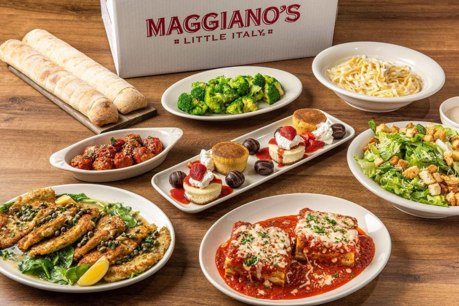 this photo shows various dishes at Maggiano's Little Italy, a restaurant chain facing possibility of bankruptcy due to the pandemic