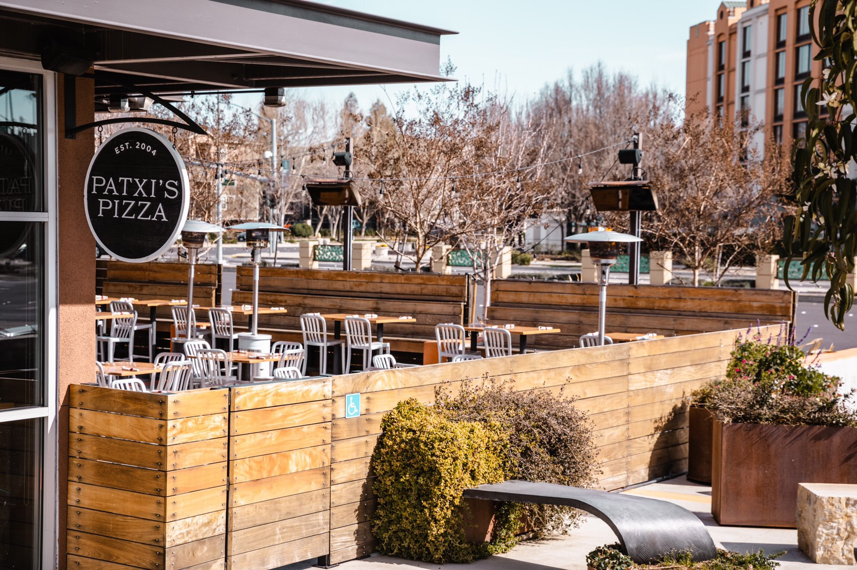 this is a photo of the attractive outdoor dining area at Patxi's Pizza