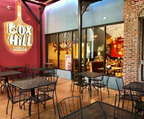photo of Box Hill Pizzeria's interior and logo