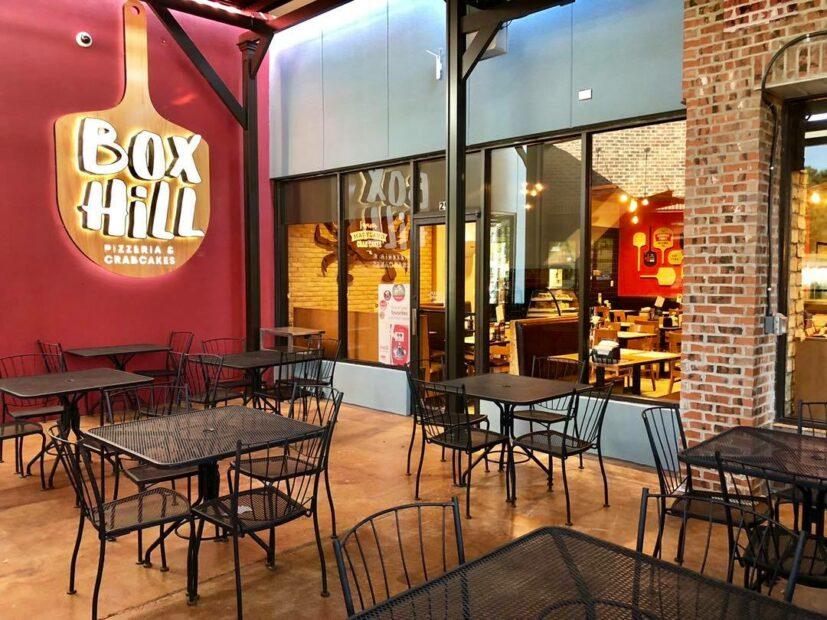 photo of Box Hill Pizzeria's interior and logo