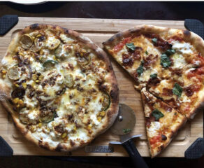 photo of two delicious pizzas created by Stephen Turselli of the Social Justice Pizza Project