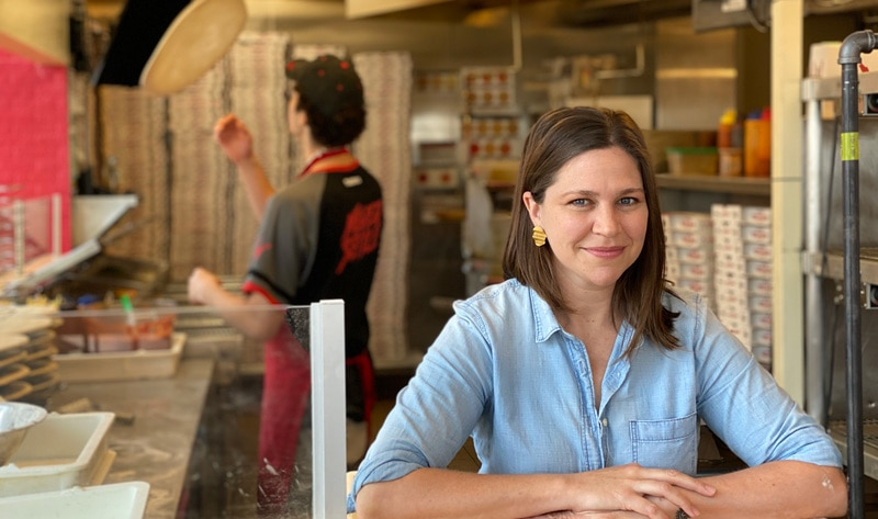 this photo shows Chef Melanie Manuel at Celesta Restaurant