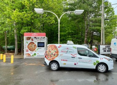 this photo shows a PizzaForno pizza vending machine unit in Port Carling, Canada
