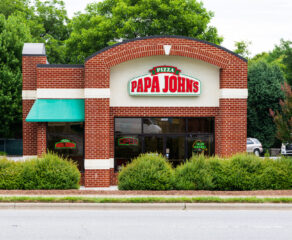 this photo shows a Papa John's restaurant in Hickory, North Carolina