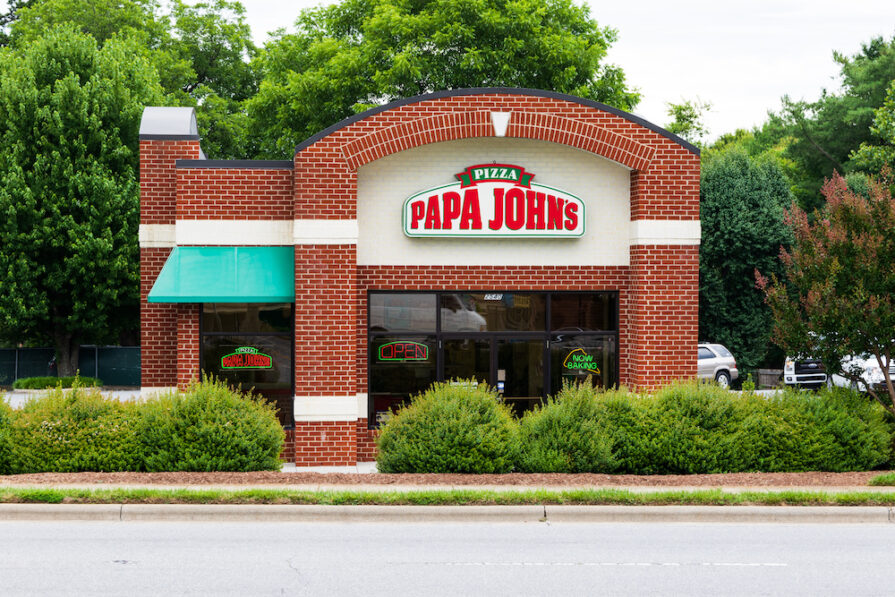 this photo shows a Papa John's restaurant in Hickory, North Carolina