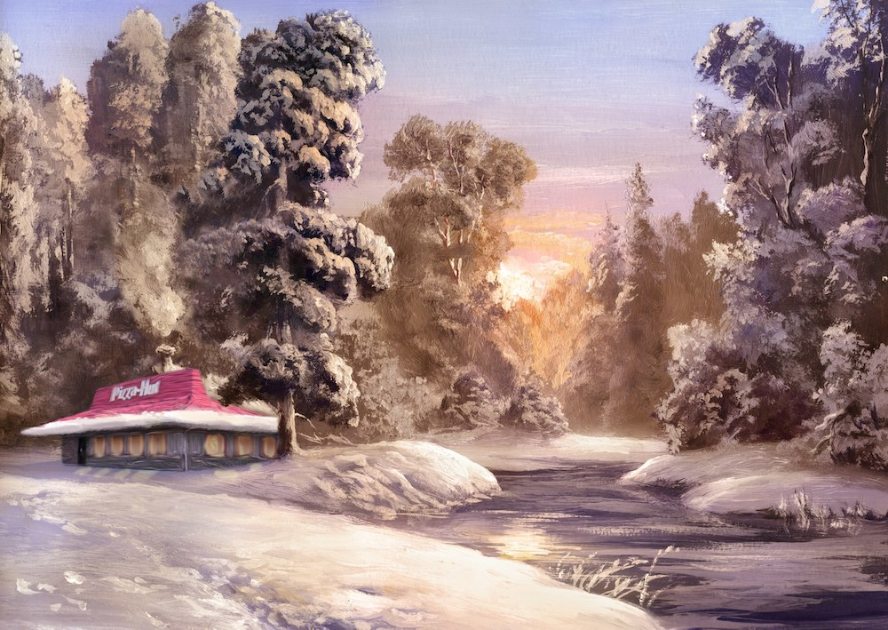 this image shows another image from Pizza Hut's $10 Tastemaker Calendar, featuring a restaurant in the middle of a snowy forest