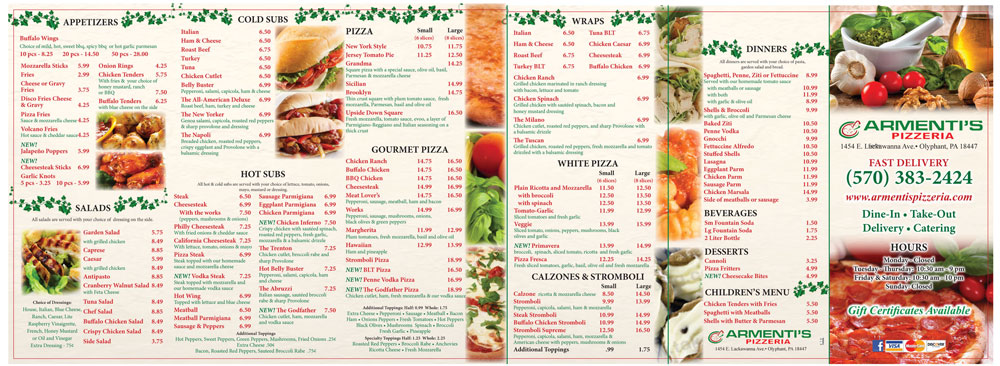 this photo shows an example of menu engineering for pizzerias by Greg Rapp