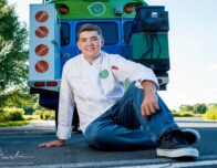 this photo shows childhood cancer survivor and pizza maker Lucas Hobbs of the Chef Lucas Food food truck.