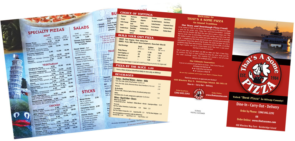 this is a before-and-after shot of a pizzeria menu designed by Greg Rapp
