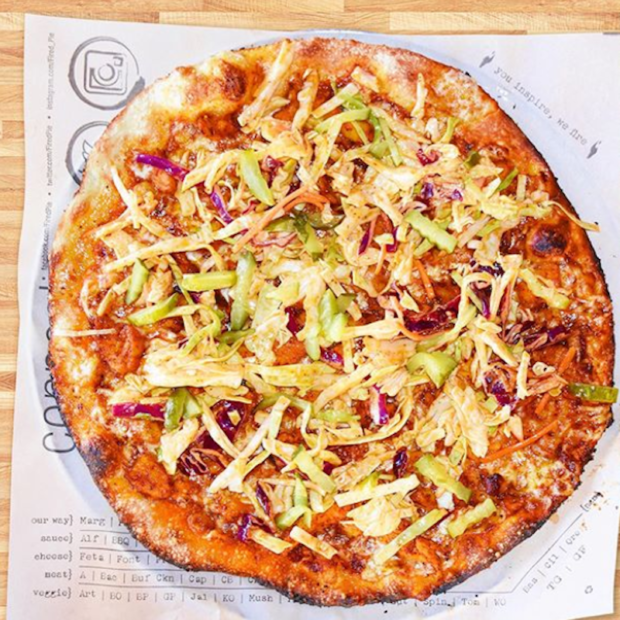this is a photo of a Nashville Hot Chicken Pizza from Fired Pie in Arizona.