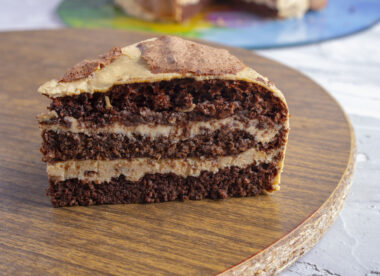 this photo shows a delicious slice of flourless, gluten-free cake
