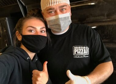 this photo shows Detroit-style pizza master Shawn Randazzo with his daughter, Angelina
