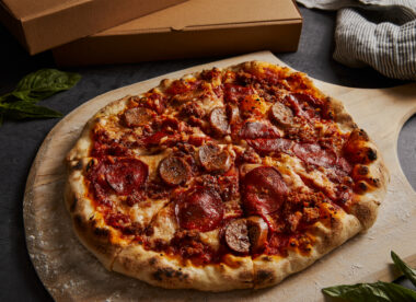 this photo shows a pizza featuring plant-based pepperoni as an ingredient at Pizza Nova in Toronto, Canada