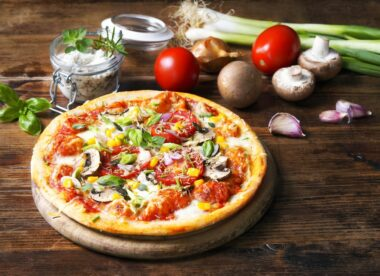 this is a photo of a pizza featuring plant-based foods and toppings
