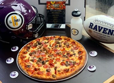 this photo shows the delicious Rave-A-Roni Supreme pizza offered at Angeli's Pizzeria in Baltimore