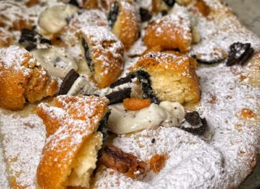 this is a mouthwatering photo of the Fried Oreo pizza at Krave It in Queens, New York