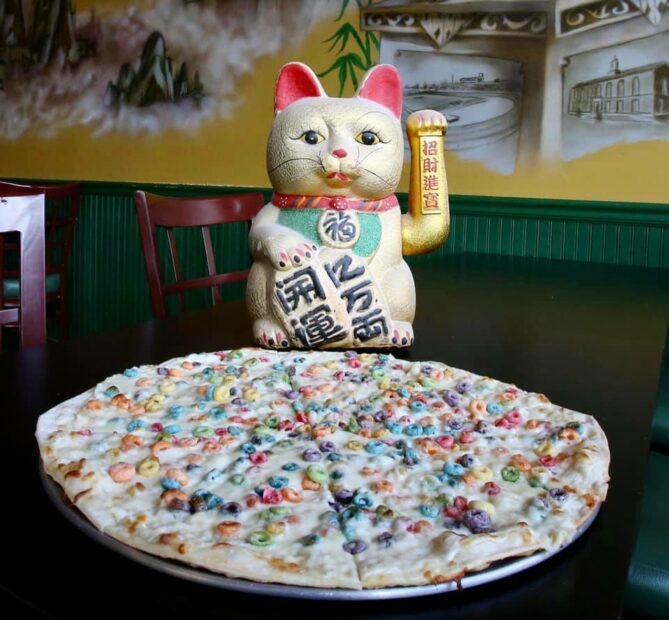 this photo shows a pizza topped with Froot Loops from Fong's Pizza in Des Moines, Iowa