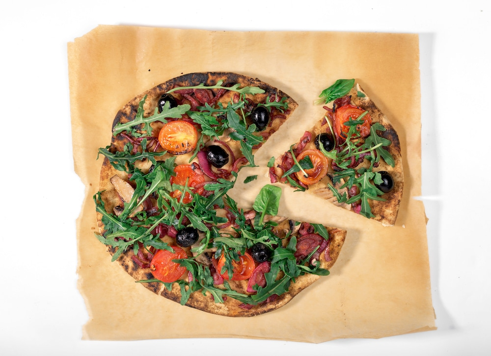 this pizza is made with plant-based ingredients provided by VEDGEco, a national wholesaler