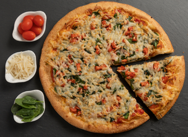 this is a photo of a vegan pizza on the menu at Sarpino's Pizzeria