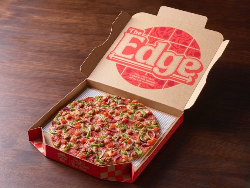 this is a photo of Pizza Hut's new limited-time pizza, The Edge, shown in a pizza box