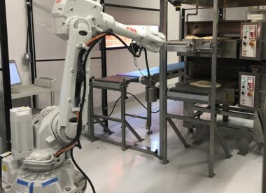 this photo shows one of Zume's pizza-making robots